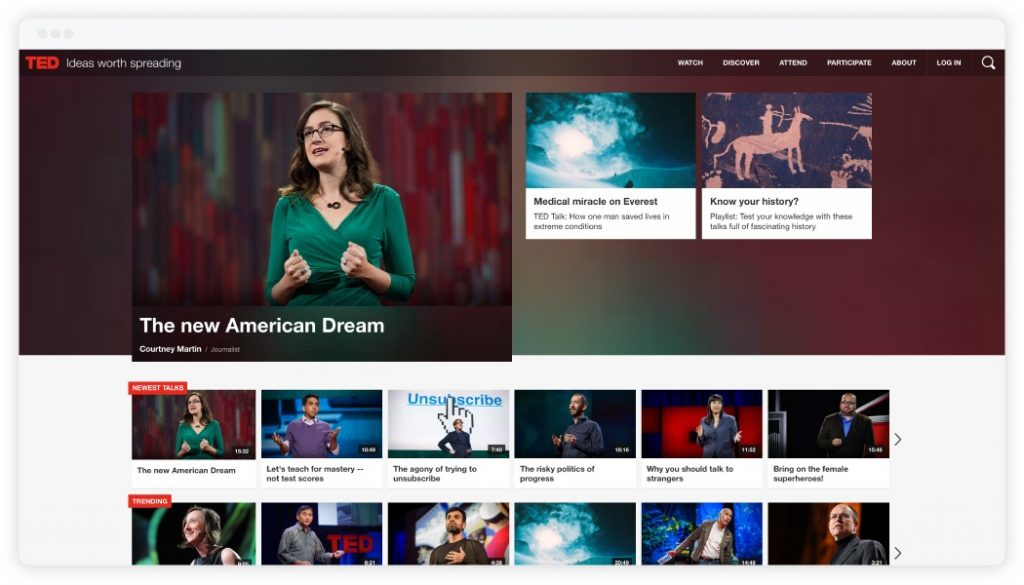 Presentation Resources: TED Website Screenshot
