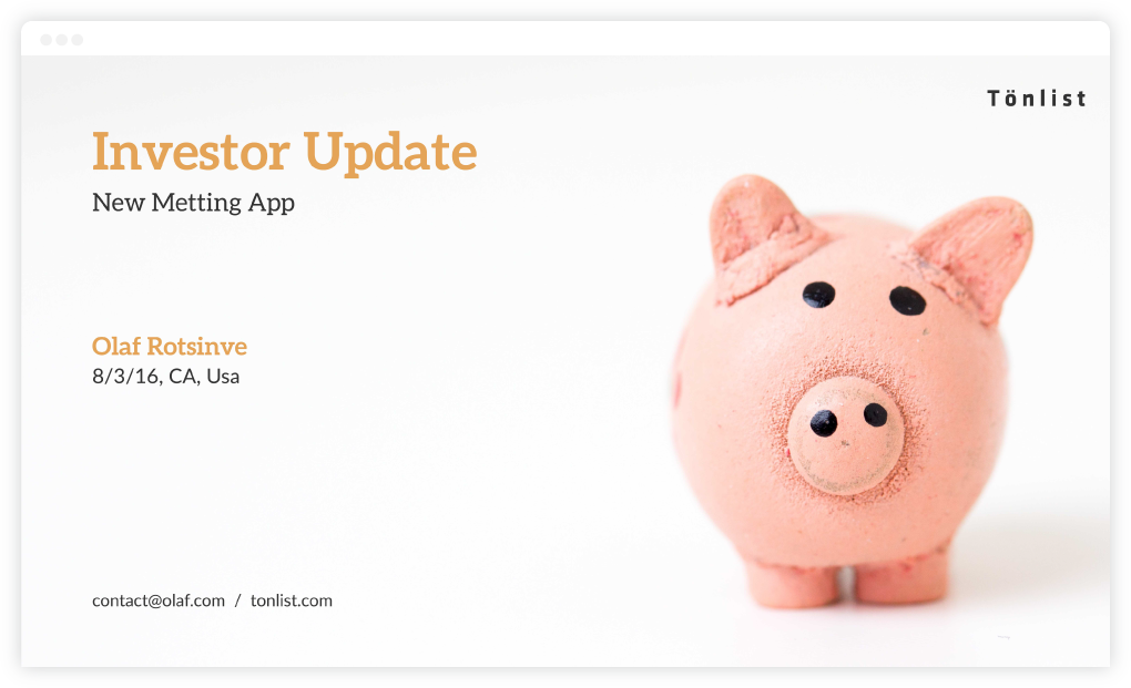 Introduction Slide / Startup Investor Update / SlideCamp